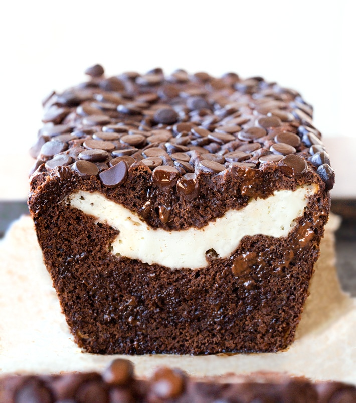 Healthy Chocolate Banana Bread With Cream Cheese Filling