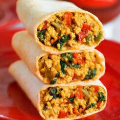 Tofu High Protein Breakfast Burritos