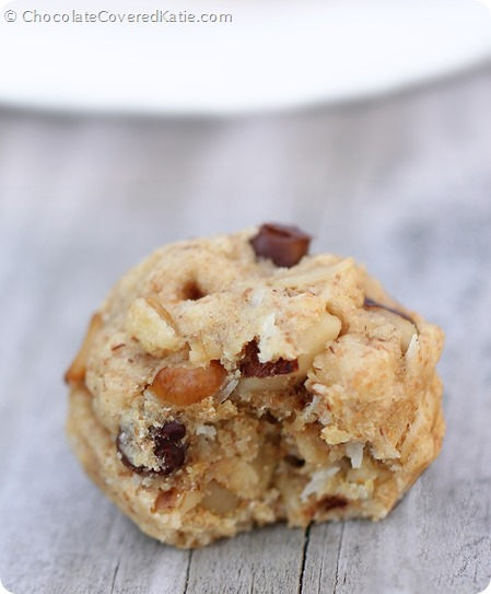 Chocolate Chip Oatmeal Cookie Dough Balls: https://chocolatecoveredkatie.com/2014/06/05/chocolate-chip-oatmeal-cookies/