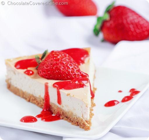 Recipe here: https://chocolatecoveredkatie.com/2014/06/26/raw-cheesecake-recipe/