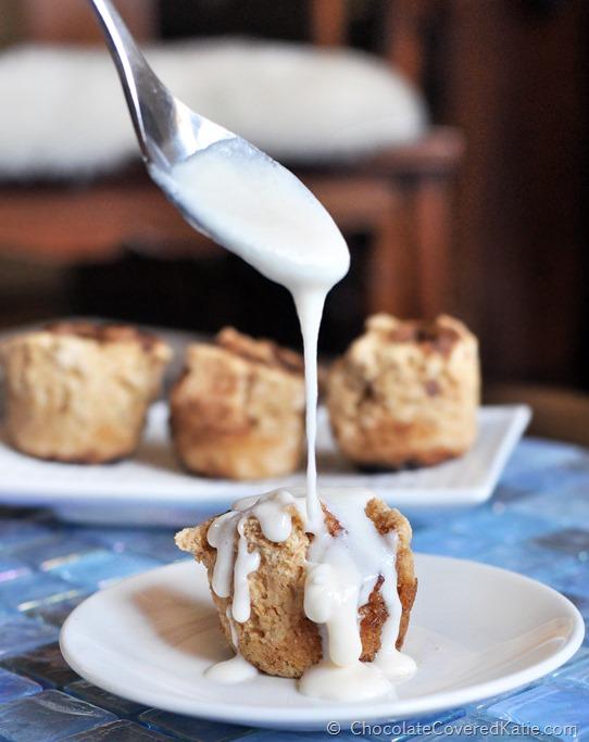 These are addictive! Ooey gooey, sticky, sweet, soft, cinnamony bite-sized cinnamon rolls: https://chocolatecoveredkatie.com/2014/10/20/mini-cinnamon-rolls/