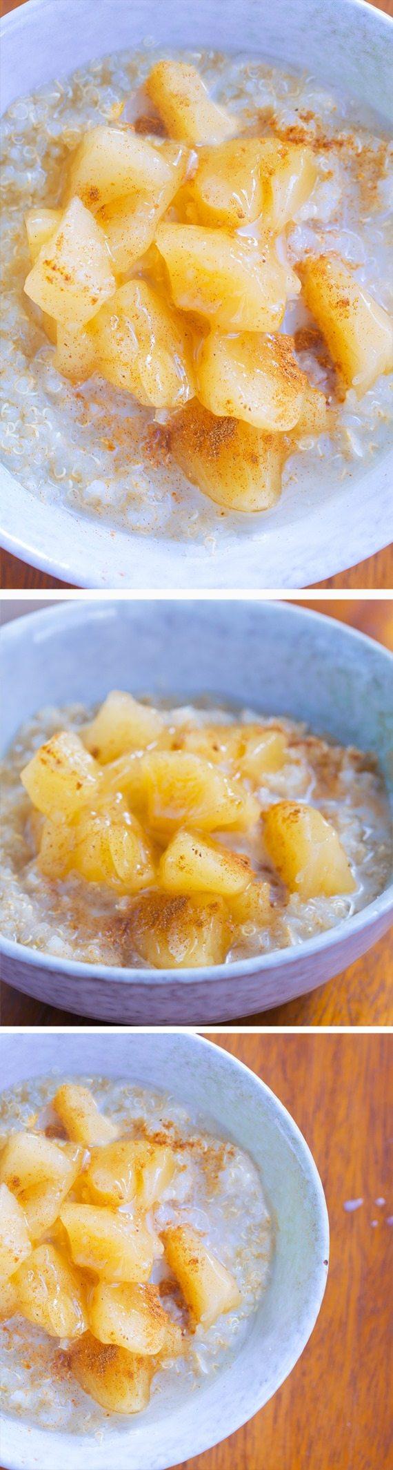 Apple Pie Breakfast Quinoa – from @choccoveredkt… 1/2 cup quinoa, 1/2 tsp cinnamon, 1 large apple, 1/4 tsp vanilla extract… Full recipe: https://chocolatecoveredkatie.com/2015/11/09/apple-quinoa-breakfast-bowls/