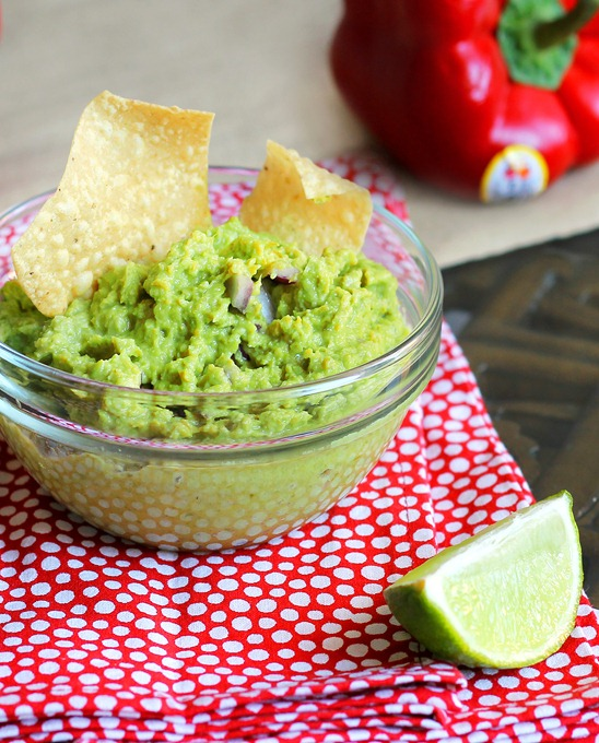 A low-fat alternative to traditional guacamole, with a secret ingredient that boosts the flavor without the calories.  Recipe: https://chocolatecoveredkatie.com/2012/03/08/avocado-free-guacamole/