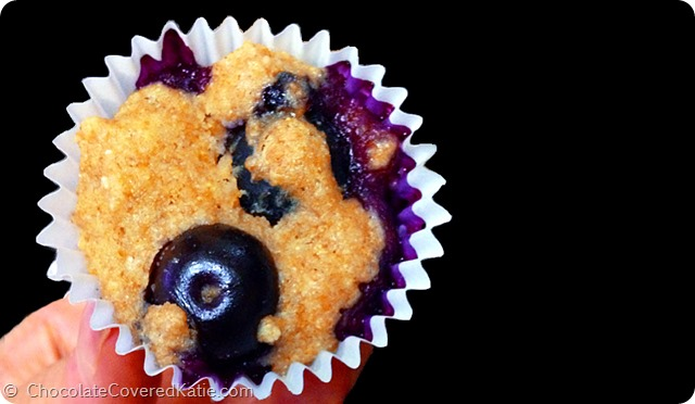 Blueberry Mini Muffin Recipe... impossible to eat just one! https://chocolatecoveredkatie.com/2014/07/07/blueberry-mini-muffins/