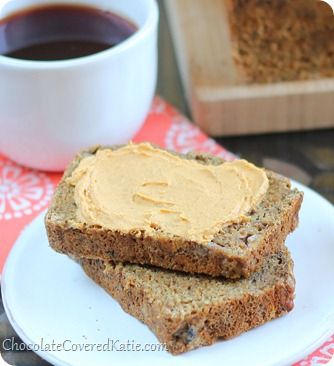 Soft, moist, and cinnamony spicy banana bread like you have never had it before. Ingredients: 2 cups mashed banana, 2 tsp cinnamon, 1 tsp baking soda, 1 1/2 tsp... https://chocolatecoveredkatie.com/2013/10/17/chai-banana-bread-pumpkin-cream-cheese/
