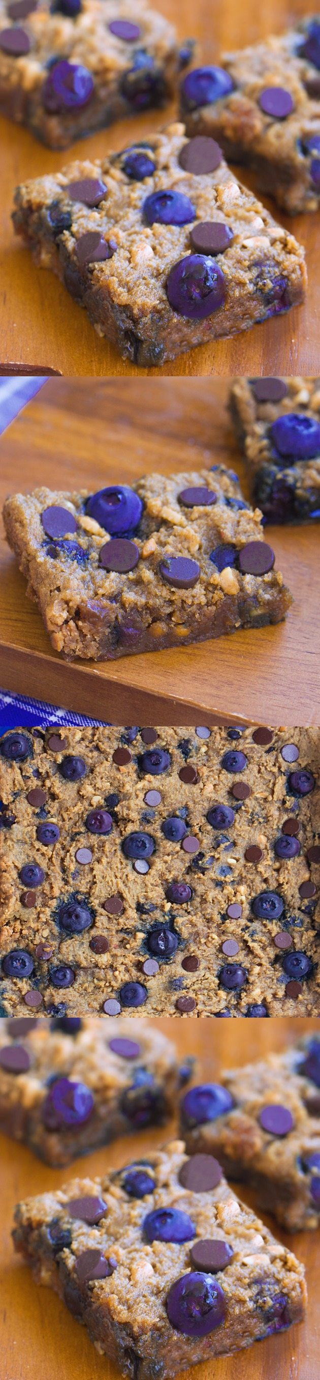 Crazy addictive chocolate chip cookie bars... like the lovechild of a chocolate chip cookie and a blueberry pie! Recipe link: https://chocolatecoveredkatie.com/2015/08/13/chocolate-chip-blueberry-bars-flourless/
