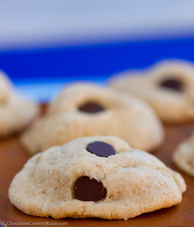 I recommend this recipe to everyone! They are the lightest, softest, chewiest, and most delicious cookies you will ever put in your mouth! Full recipe: https://chocolatecoveredkatie.com/2015/02/10/chocolate-chip-cream-cheese-cookies/