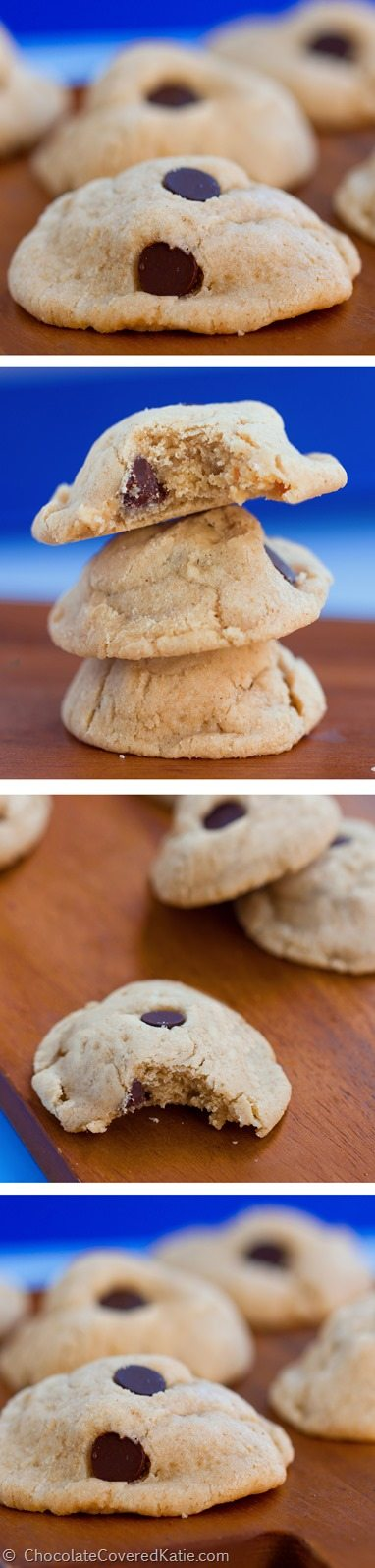 The lightest, softest, chewiest, and most delicious cookies you will ever put in your mouth. (Yes, seriously) https://chocolatecoveredkatie.com/2015/02/10/chocolate-chip-cream-cheese-cookies/ @choccoveredkt