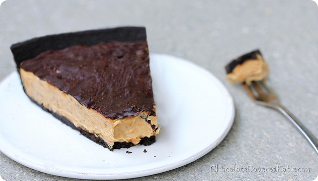 Chocolate Peanut Butter Cup Pie https://chocolatecoveredkatie.com/2014/02/17/chocolate-peanut-butter-cup-pie/
