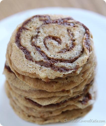 Cinnamon Bun Pancakes. Recipe: https://chocolatecoveredkatie.com/2014/01/24/cinnamon-roll-pancakes/