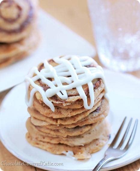 Cinnamon Roll Pancakes: https://chocolatecoveredkatie.com/2014/01/24/cinnamon-roll-pancakes/