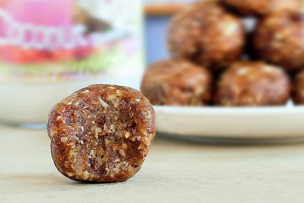 A simple no-bake snack that can be made in under 5 minutes, and both kids and adults will gobble them up: https://chocolatecoveredkatie.com/2012/05/02/2-ingredient-coconut-cookie-dough-balls/