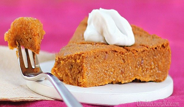 For those who want to avoid the holiday weight gain without giving up dessert, this could be your new favorite recipe: https://chocolatecoveredkatie.com/2012/11/08/crustless-pumpkin-pie/