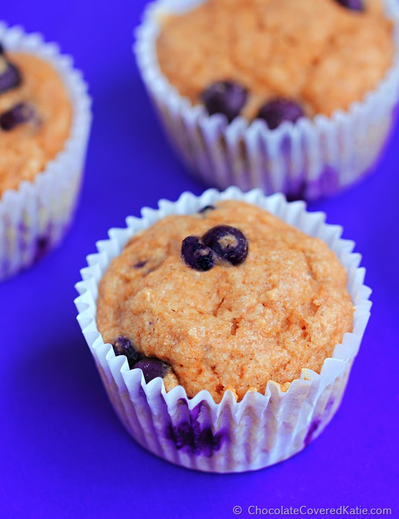 {oil free} Low Fat Blueberry Muffins: https://chocolatecoveredkatie.com/2014/11/10/low-fat-blueberry-muffins/