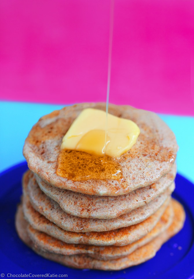 Irresistibly light & fluffy pancakes - You can have eight pancakes for under 200 calories. See the recipe here: https://chocolatecoveredkatie.com/2015/02/17/fatcake-pancakes/