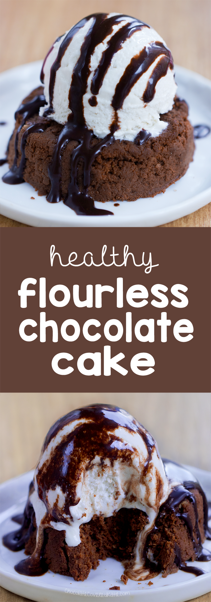 Flourless Chocolate Cake - Ingredients: 1/2 cup cocoa powder, 1/4 tsp baking soda, 2 tsp vanilla extract, 1/2 cup... Full recipe: https://chocolatecoveredkatie.com/ @choccoveredkt