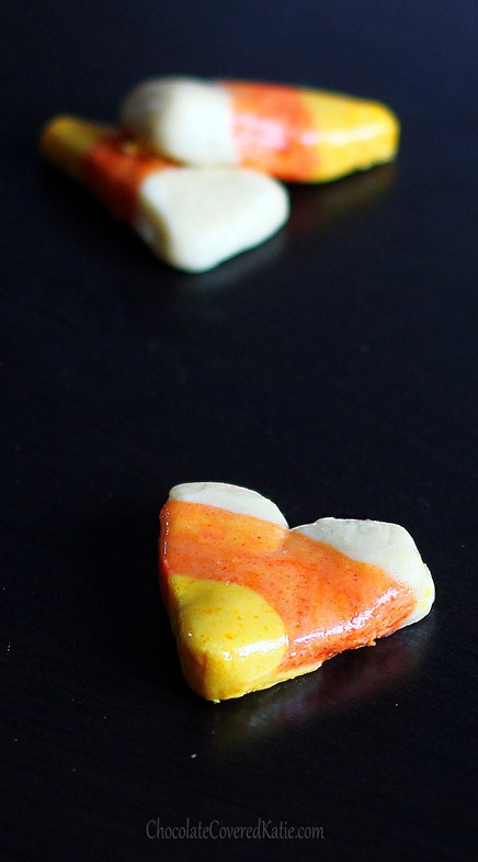 Healthier candy corn recipe you can do at home - without the artificial ingredients & corn syrup. From @choccoveredkt... Full recipe: https://chocolatecoveredkatie.com/2012/10/28/vegan-candy-corn/