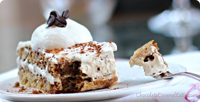 Healthy Tiramisu: light, rich, and creamy... all for under 100 calories: https://chocolatecoveredkatie.com/2014/03/27/healthy-tiramisu-recipe/