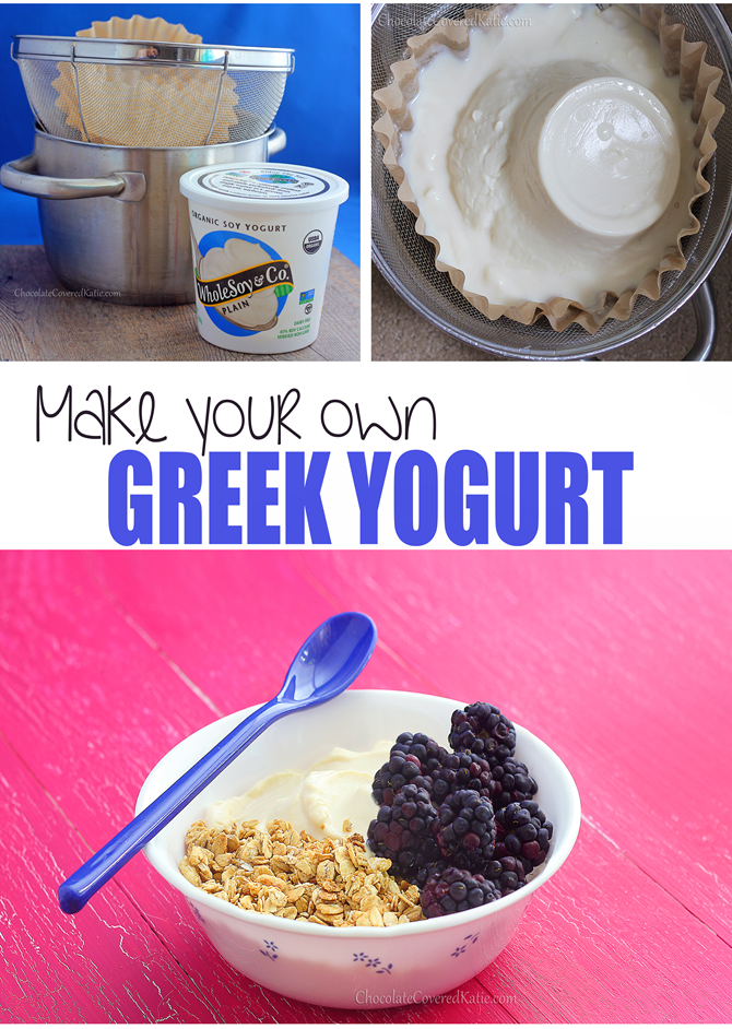 Learn how to make Greek yogurt at home - with just one ingredient and no yogurt starter or fancy machines: https://chocolatecoveredkatie.com/2015/02/15/how-to-make-greek-yogurt-homemade/