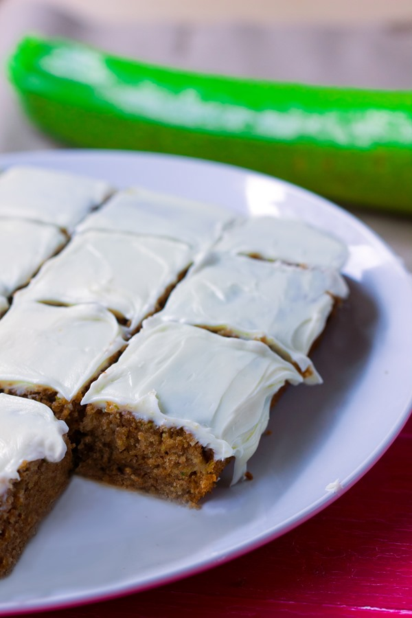 Irresistibly light and moist zucchini cake from @choccoveredkt, with a full cup of zucchini packed into the recipe! https://chocolatecoveredkatie.com/2015/07/20/zucchini-cake-recipe/