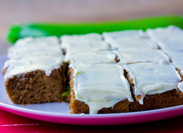 Irresistibly light zucchini cake from @choccoveredkt, with a full cup of zucchini packed into the recipe! https://chocolatecoveredkatie.com/2015/07/20/zucchini-cake-recipe/
