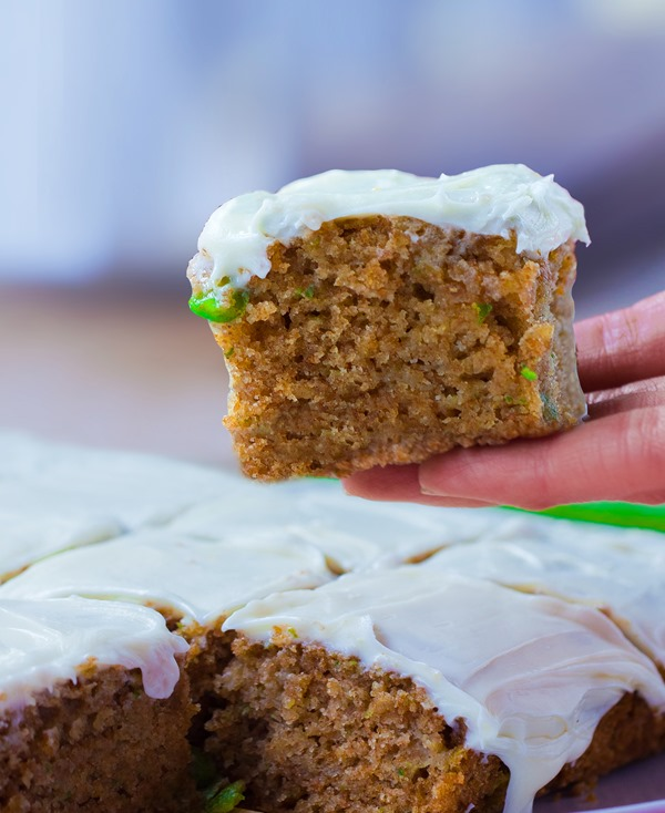 Zucchini cake from @choccoveredkt, with a full cup of zucchini packed into the recipe! https://chocolatecoveredkatie.com/2015/07/20/zucchini-cake-recipe/
