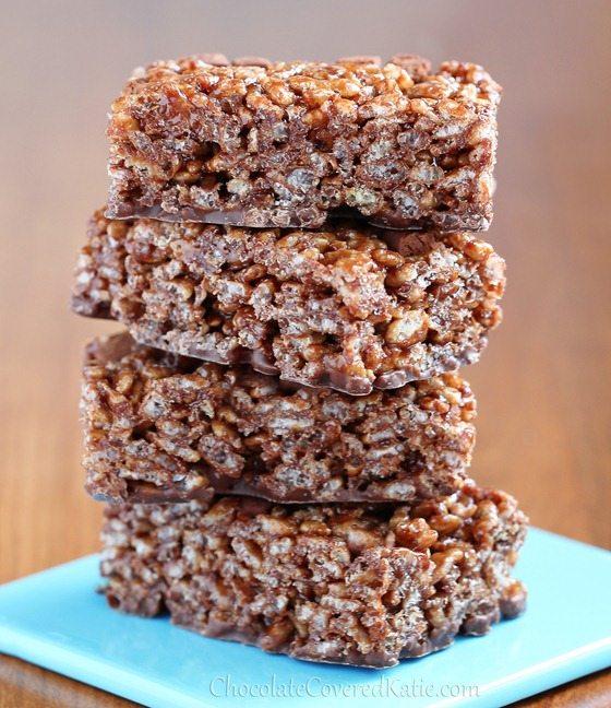 6 Ingredient Nutella Rice Crispy Treats: https://chocolatecoveredkatie.com/2013/04/09/healthy-chocolate-nutella-rice-crispy-treats/