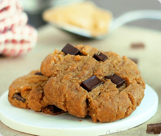 Peanut butter chocolate chip gingerbread christmas cookies! https://chocolatecoveredkatie.com/2012/12/11/peanut-butter-gingerbread-chocolate-chunk-cookies/