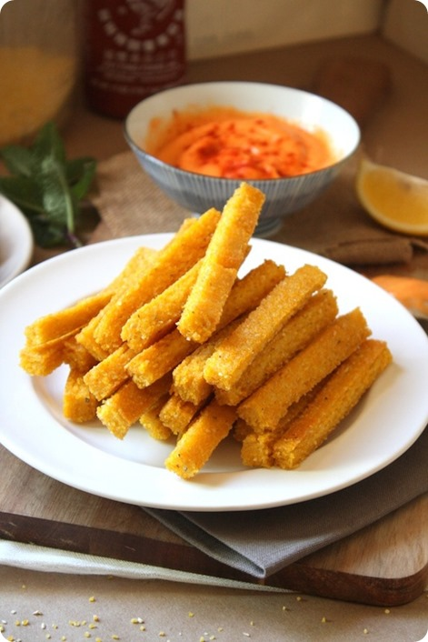 Cheezy Baked Polenta Fries: https://chocolatecoveredkatie.com