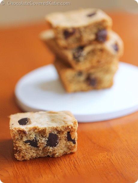 Whole Grain Pumpkin Chocolate Chip Cookie Bars: https://chocolatecoveredkatie.com/2014/09/15/pumpkin-chocolate-chip-cookie-bars/
