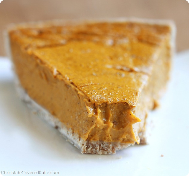 """Commenters have called this the """"creamiest pumpkin pie you'll ever eat"""" https://chocolatecoveredkatie.com/2013/11/04/healthy-pumpkin-pie-recipe/"""