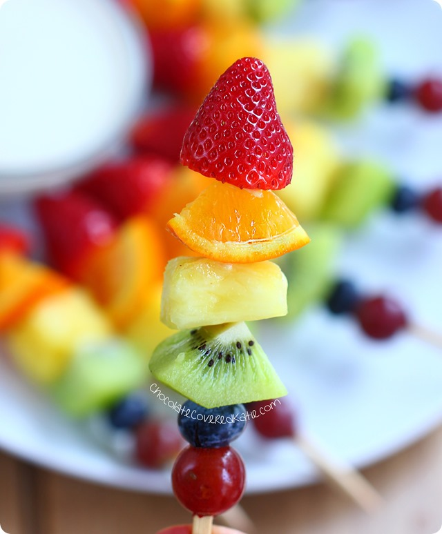 Rainbow fruit kabobs from @choccoveredkt. Easy to make & kid-friendly snack. Rainbow fruit kabobs from @choccoveredkt. Easy to make & kid-friendly snack. https://chocolatecoveredkatie.com/2015/05/15/rainbow-fruit-kabobs/