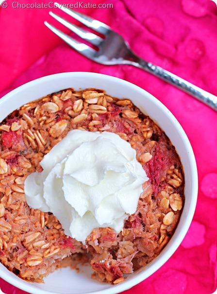 Strawberry Shortcake Baked Oatmeal: https://chocolatecoveredkatie.com/2014/08/19/strawberry-shortcake-baked-oatmeal/