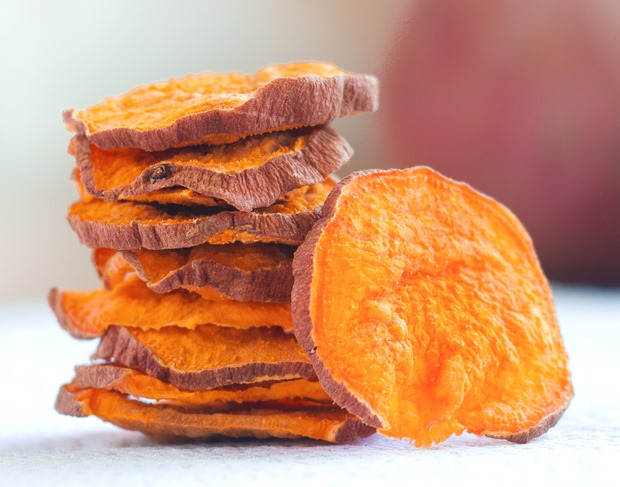 So ADDICTIVE… and they are baked and crispy, not soggy! These were impossible to stop eating… @choccoveredkt. Satisfies your potato chip craving in a much healthier way: https://chocolatecoveredkatie.com/2015/10/29/crispy-baked-sweet-potato-chips/