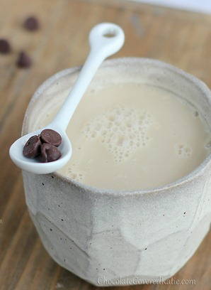 For those times when regular coffee just won't cut it, treat yourself to the creamy deliciousness of a homemade chocolate chip cookie dough latte: https://chocolatecoveredkatie.com/2013/01/21/the-chocolate-chip-cookie-dough-latte/
