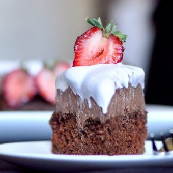 Triple-Layer Chocolate Mousse Fudge Cake