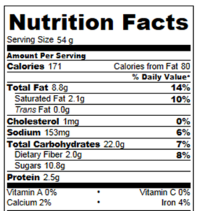 chocolate chip cookie nutrition information