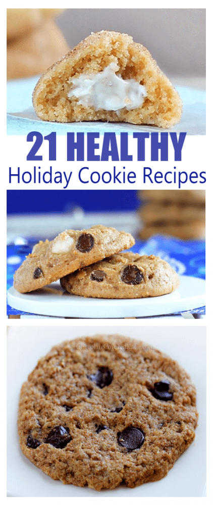 This page has you covered for all of your holiday cookie needs. Includes everything from chocolate chip cookies to peanut butter cookies to shortbread cookies. Every type of cookie you could possibly imagine: http://chocolatecoveredkatie.com/2014/12/07/healthy-holiday-cookie-recipes/