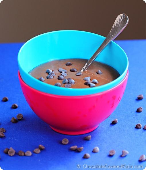 Chocolate Banana Breakfast Pudding: https://chocolatecoveredkatie.com/2014/09/03/chocolate-banana-bread-bowl/