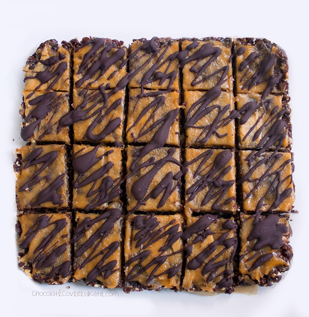 Secretly healthy brownie bars - from @choccoveredkt... oil-free, sugar-free, raw, #vegan, paleo, & gluten-free. Full recipe: https://chocolatecoveredkatie.com/2015/06/01/no-bake-chocolate-peanut-butter-brownie-bars/