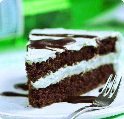 Mint Chocolate Double Layer Cake that is secretly good for you... with a healthy frosting recipe: https://chocolatecoveredkatie.com/2014/03/06/mint-chocolate-frosted-chocolate-layer-cake/