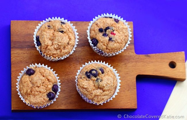 healthy low-fat blueberry muffins