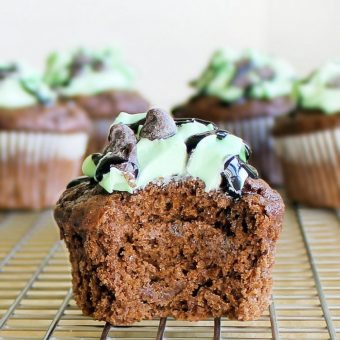 Monster Mint-Chocolate Chip Cupcakes