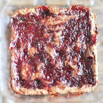 Gooey PB&J Blondies