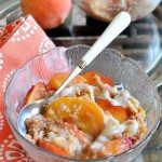 Peach Breakfast Bake - indulgently sweet and creamy... and so healthy you can have two bowls. For breakfast! http://chocolatecoveredkatie.com/2011/06/26/peach-breakfast-bake/ @choccoveredkt