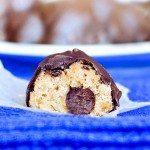 """Chocolate Chip Cookie Dough Truffles – no egg, no flour, """"no bake"""" safe-to-eat chocolate chip cookie dough. SO GOOD http://chocolatecoveredkatie.com/2012/01/03/chocolate-chip-cookie-dough-truffles/ @choccoveredkt"""