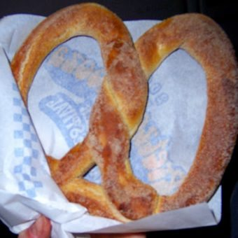 Run run, as fast as you can. You can't catch me, I'm the soft-pretzel man.