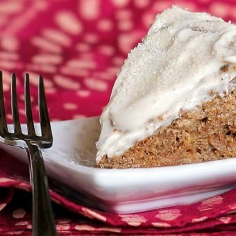 Mini Eggnog Spice Cake with Creamy Dreamy Frosting